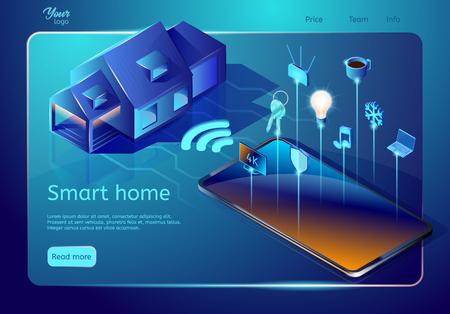Website-Vorlage für das Smart-Home-System. Isometrische Vektorillustration. Abstraktes Designkonzept, das ein System zur Steuerung von Temperatur, Multimedia, Sicherheit und Luftqualität einführt Vektorgrafik