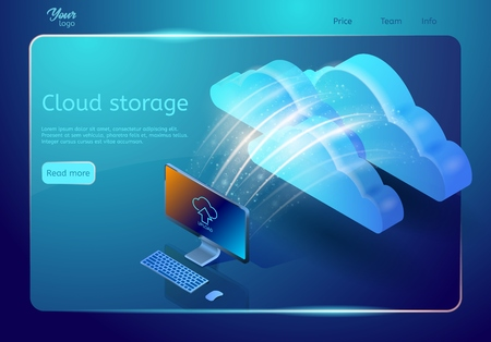 Cloud data storage web page template. Abstract design concept. Isometric vector illustration depicting personal computer sending backup data depository.