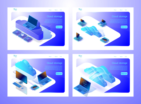 Set of web page templates for websites about cloud computing services and data storages. Isometric vector illustrations showing digital devices and clouds. Abstract design concept for web development.