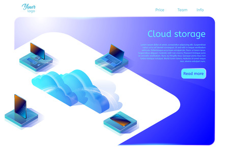 Cloud data storage web page template for web development. Isometric vector illustration. Design concept for websites about cloud computing services. Image showing digital devices and clouds.