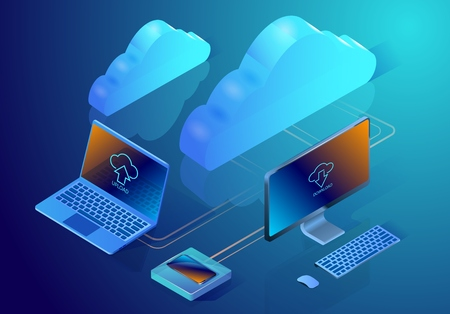 Cloud data storage. Isometric vector illustration depicting concept of online data hosting. Image showing digital devices and clouds on the abstract surface.