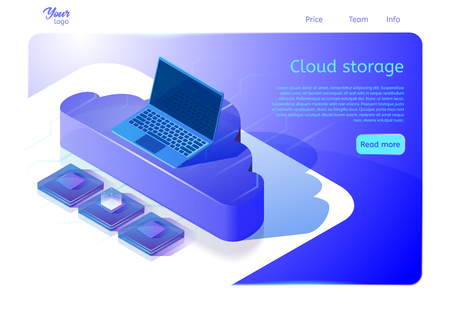 Cloud data storage web page template. Isometric vector illustration for web development and websites about computing services. Image showing laptop on cloud and central processing units. 免版税图像