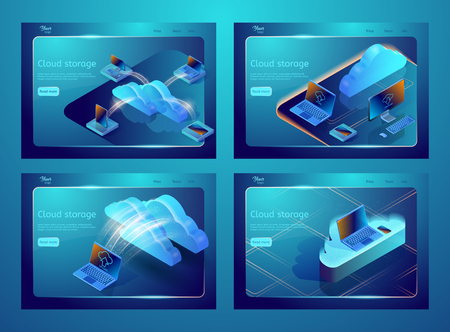 Set of isometric cloud data storage illustrations. Collection of web page templates for websites about cloud computing services. Abstract design concept for web development.