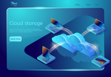 Cloud data storage web page template. Abstract design concept. Isometric vector illustration. Image showing devices connected to the cloud server. 免版税图像