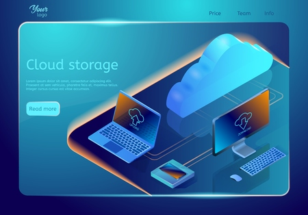 Cloud data storage. Vector web page template. Isometric illustration depicting concept of online data hosting. Image showing digital devices and cloud on the abstract surface.