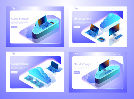 Collection of isometric cloud data storage illustrations. Set of web page templates for websites about computing services. Abstract design concept for web development.