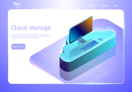 Cloud data storage concept. Web page template. Isometric vector illustration showing a personal computer on the cloud. Online data hosting and backup.