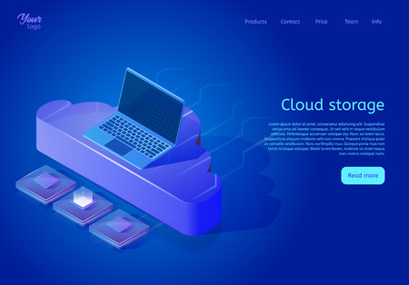 Isometric cloud data storage web page template. Vector illustration showing a laptop, a central processing unit and a cloud on the abstract surface. Online data hosting and backup.