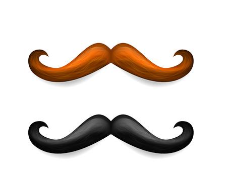 Illustration de la moustache. Vector moustaches brunes et noires isolés sur fond blanc. Vecteurs