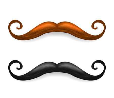 Mustache illustration. Vector brown and black mustaches isolated on white background.