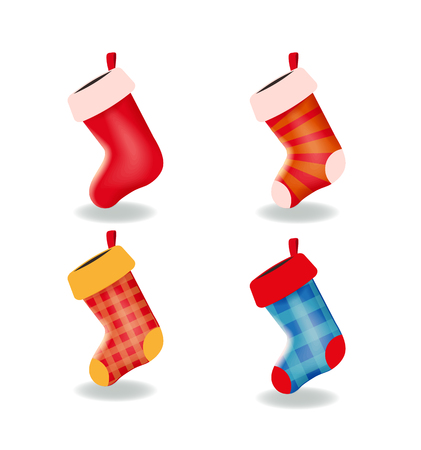 Set of the empty Christmas stockings isolated on the white background. Collection of different long socks for gifts and presents. Vector illustration for Christmas and New Year design.