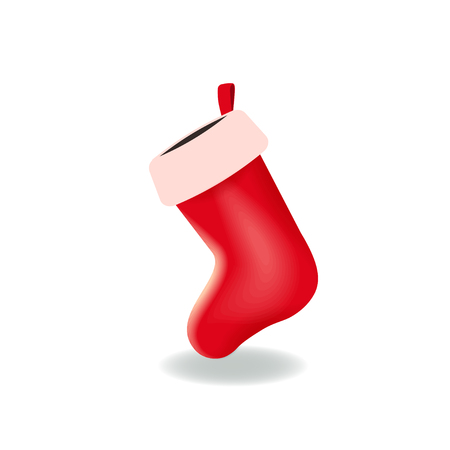 Empty red Christmas stocking isolated on the white background. Long sock for gifts and presents. Image suitable for Christmas and New Year design. Vector illustration