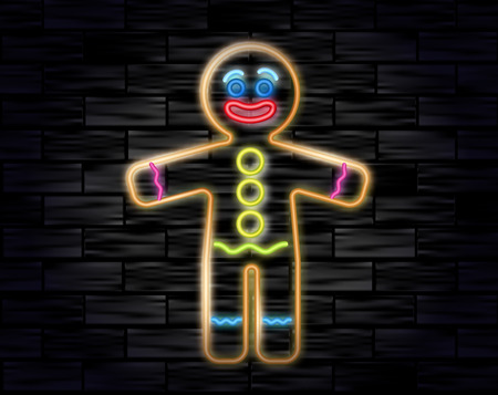 Vector illustration of the gingerbread man neon sign on the black brick background. Cookie in shape of stylized human. Image for New year, Christmas, winter holiday, cooking, food design.