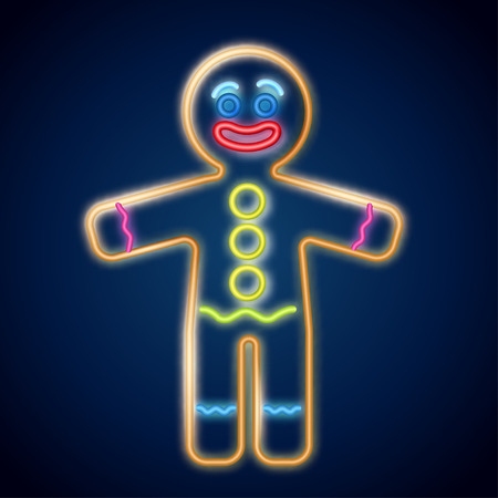 Vector illustration of the gingerbread man neon sign on the dark background. Cookie in shape of stylized human. Image for New year, Christmas, winter holiday, cooking, food design. Ilustração