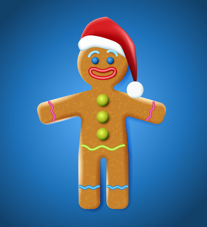 Vector illustration of the gingerbread man on the blue background. Holiday cookie in shape of stylized human. Image for New year, Christmas, winter holiday, cooking, food design. Ilustração