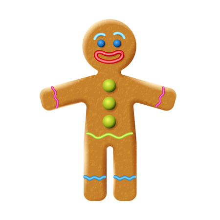 Gingerbread man isolated on the white background. Holiday cookie in shape of stylized human. Image for New year, Christmas, winter holiday, cooking, food design. Vector illustration Ilustração