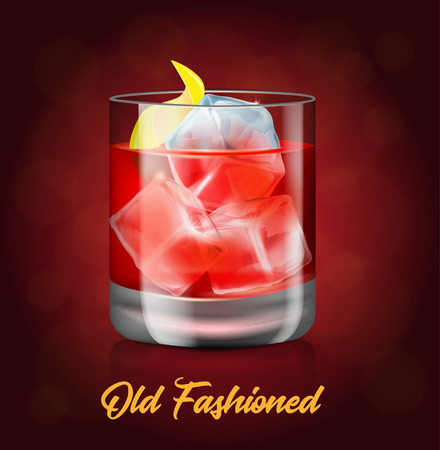 The glass of old-fashioned cocktail on the red background.Vector illustration of an alcoholic drink. Hard beverage with a bitters, whiskey, small piece of ice and piece of lemon peel.