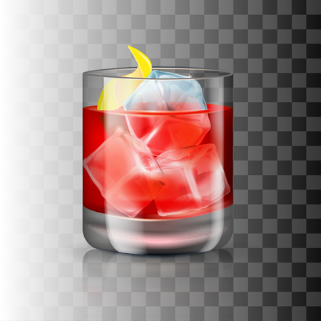 Glass of old-fashioned cocktail on the transparent background. Vector illustration of an alcoholic drink. Hard beverage in a tumbler-like glass.