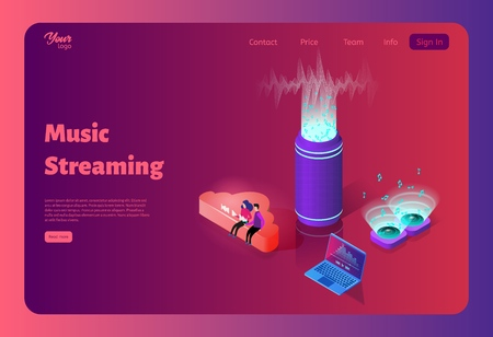 Online music streaming from the cloud. Wireless sound stream. Music on a computer, smartphone and other devices. Template for website design. Flat isometric vector illustration. Ilustração