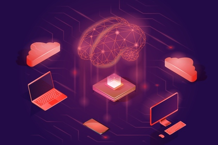 Neural network concept. Artificial intelligence isometric vector illustration. Ilustração