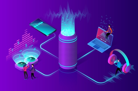Online music streaming concept. People listens to music on a computer, smartphone and other devices. Wireless sound stream technology. Flat isometric vector illustration.