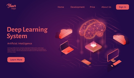 Deep learning system landing web page template. Neural network concept. Machine learning structure. Artificial intelligence isometric vector illustration. Cloud computing.