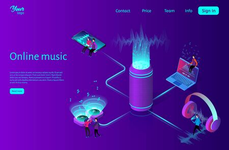 Online music streaming concept. Flat isometric vector illustration.
