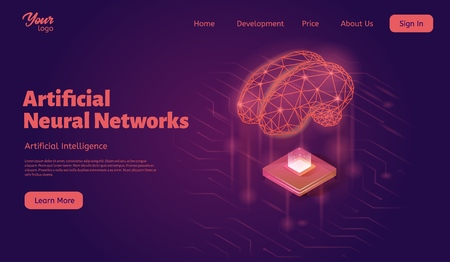 Artificial neural networks landing web page template. Brain and computer chip concept. 矢量图像