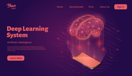 Deep learning system landing web page template. Brain and smartphone concept.