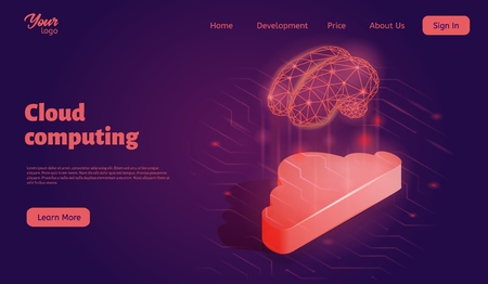 Cloud computing landing web page template. Isometric vector illustration.