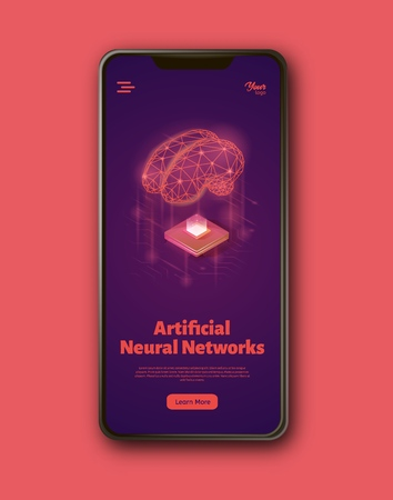 Artificial neural networks landing web page template on smartphone screen. Bran and computer chip concept. Machine learning structure. Artificial intelligence isometric vector illustration.