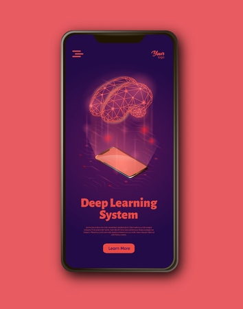 Deep learning system landing web page template. Bran and smartphone concept. Machine learning structure. Artificial intelligence isometric vector illustration. 矢量图像
