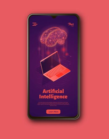 Artificial intelligence system landing web page template on smartphone..