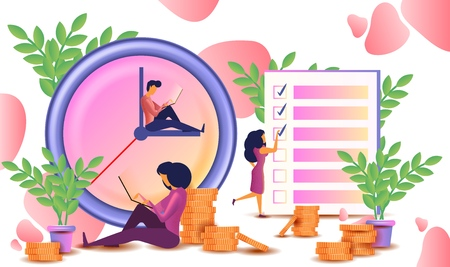 Time management concept planning, organization, working time. Vector illustration with characters, clock and checklist. Can use for web banner and infographics 矢量图像