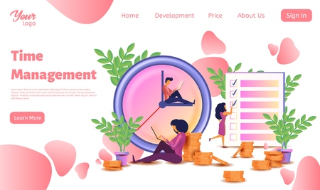 Time management landing web page template. Isometric vector illustration. Design concept planning, organization, working time. Vector illustration with characters, clock and checklist.