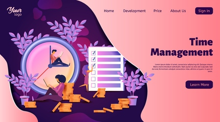 Time management landing web page template. Isometric vector illustration. Design concept planning, organization, working time. User interface of web site with characters, clock and checklist.