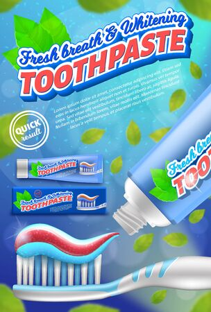 Toothpaste and toothbrush design concept. Realistic vector illustration. 3d advertising poster. Dental care. Ilustração
