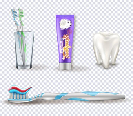 Set of the dental items. Collection of the tooth brushing objects on the transparent background.