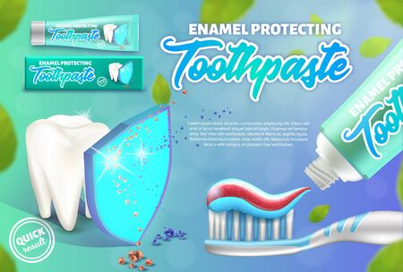 Advertising design concept of the enamel protecting toothpaste. Illustration of tooth under the shield and toothbrush.