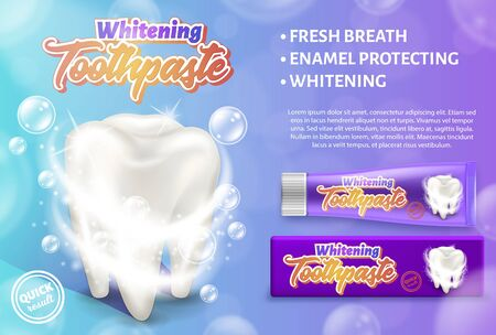 Werbedesignkonzept der aufhellenden Zahnpasta. Realistische Vektorgrafik der Zahnpflege und -behandlung.