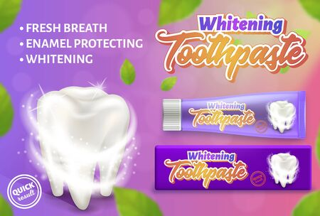 Advertising design concept of the whitening toothpaste. 3d vector illustration showing toothpaste and white tooth. Ilustração