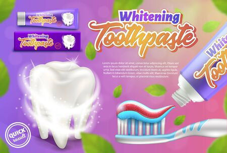 Promotional poster of whitening toothpaste. 3d vector illustration for advertising campaign.