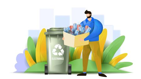 A man is sorting the electronic waste. Flat vector illustration presenting e-waste concept. Male character is putting waste material in the recycling bin. Electronic waste sorting in the city.