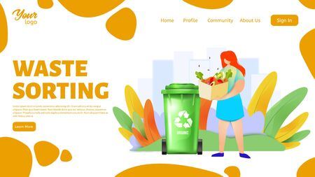 Waste sorting landing page template. Woman separating organic wastes and throwing them for recycling. Ilustração