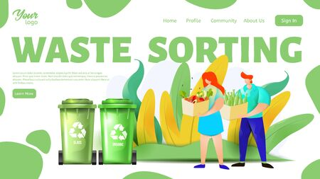 Man and woman separating organic and glass wastes. Waste sorting landing page template. Vector illustration. Ilustração