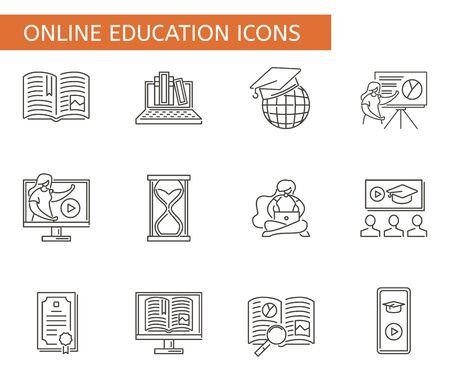 Set of online education symbols. Collection of e-learning icons. Vector illustration showing educational symbols.