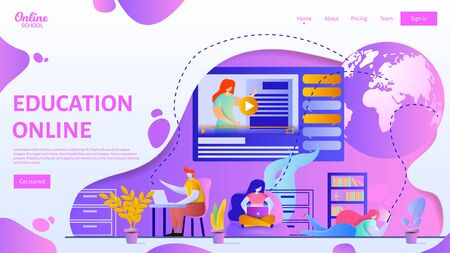 Online education webpage template. Flat vector illustration showing a group of people studying remotely.