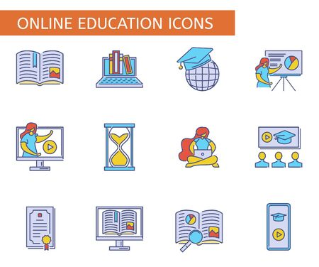 Set of online education symbols. Collection of e-learning icons. Ilustração