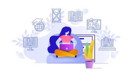 Online education design concept. A woman working on laptop and watching videos. Flat vector illustration.