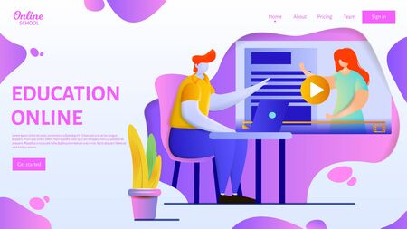 Online education webpage template. Flat vector illustration of a man sitting in front of laptop and studying. Ilustração